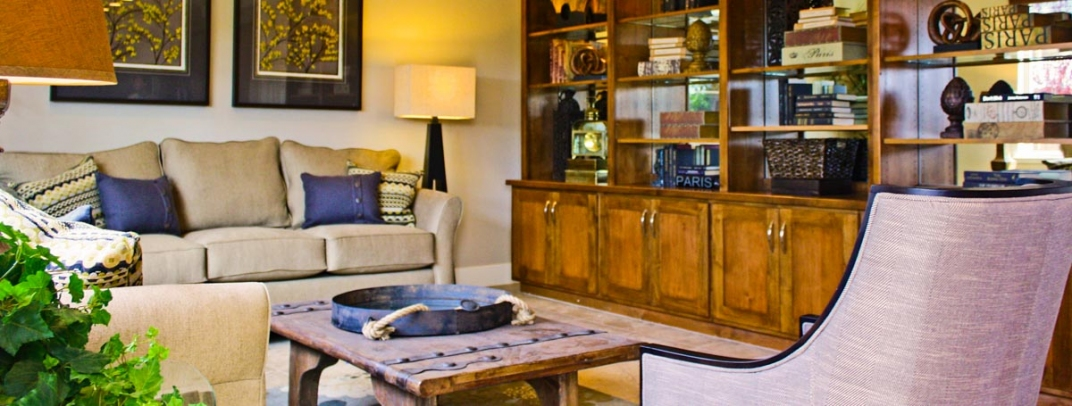 Model interior showing furniture. Model Home Furniture Sale at The Vineyard   JMC Homes
